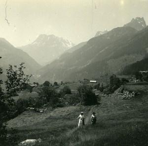 Finhaut Aiguilles Rouges Loriaz Perron Possemiers Amateur Stereoview Photo 1910