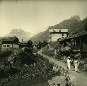 Switzerland Finhaut Village Old Possemiers Amateur Stereoview Photo 1910