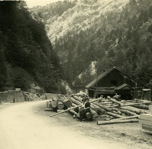 Switzerland Jura Moutier Sawmill Old Possemiers Amateur Stereoview Photo 1910