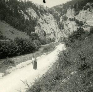 Suisse Jura Gorge de Moutier ancienne Photo Stereo Amateur Possemiers 1910