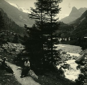 Switzerland Val d'Hérens Ferpecle Old Possemiers Amateur Stereoview Photo 1910