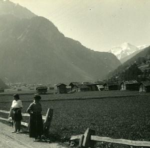 Switzerland Val d'Hérens Chalets Old Possemiers Amateur Stereoview Photo 1910