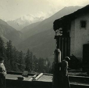 Switzerland Val d'Hérens Pigne d'Arolla Possemiers Amateur Stereoview Photo 1910