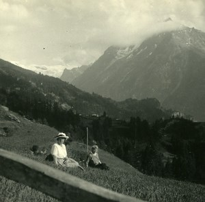 Switzerland Val d'Hérens Villa Ferpecle Possemiers Amateur Stereoview Photo 1910