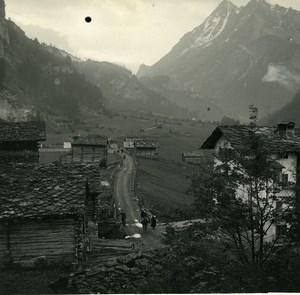 Switzerland Val d'Hérens Evolene Old Possemiers Amateur Stereoview Photo 1910