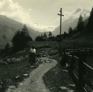 Switzerland Val d'Hérens Path to Lanna Possemiers Amateur Stereoview Photo 1910