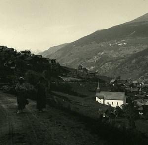 Switzerland val d'Anniviers Saint-Jean Possemiers Amateur Stereoview Photo 1910
