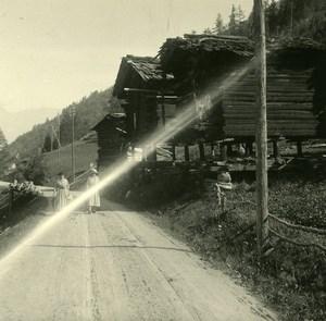 Switzerland val d'Anniviers Mazet Vissoie Possemiers Amateur Stereo Photo 1910