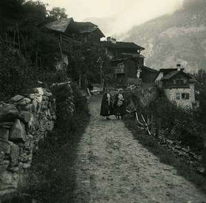 Suisse val d'Anniviers Pinsec Village ancienne Photo Stereo Amateur Possemiers 1910