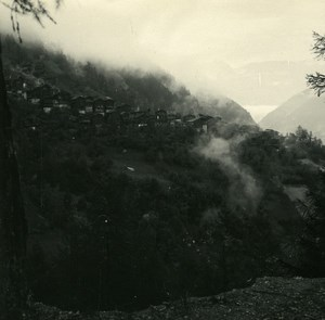 Switzerland val d'Anniviers Pinsec Old Possemiers Amateur Stereoview Photo 1910