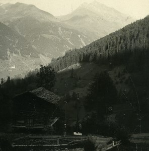 Switzerland Val Moiry Ayer Weisshorn Possemiers Amateur Stereoview Photo 1910