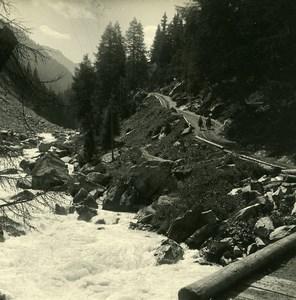 Switzerland Val d'Anniviers Zinal Path Possemiers Amateur Stereoview Photo 1910