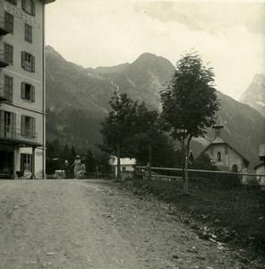 Switzerland Val d'Anniviers Zinal Hotel Possemiers Amateur Stereoview Photo 1910