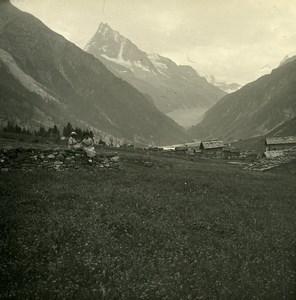 Switzerland Val d'Anniviers Zinal Besso Possemiers Amateur Stereoview Photo 1910