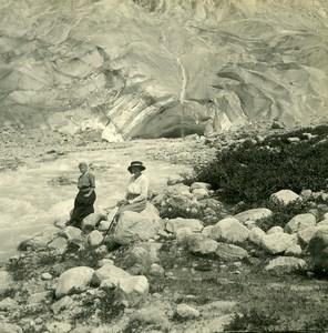 Suisse Source du Rhone Glacier du Rhône ancienne Photo Stereo Amateur Possemiers 1910