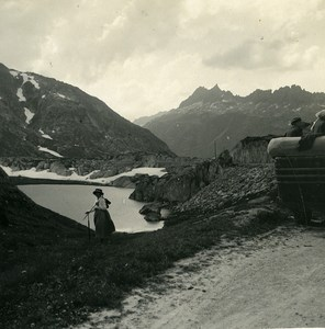 Switzerland Grimsel Pass Juchlistock Possemiers Amateur Stereoview Photo 1910