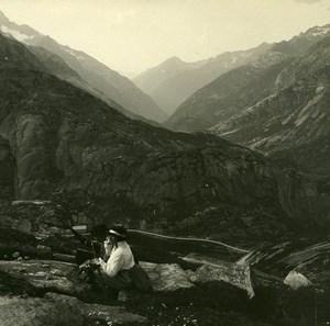 Switzerland Grimsel Haslital Oberhasli Possemiers Amateur Stereoview Photo 1910