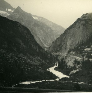 Switzerland Grimsel road Stampfhorn Old Possemiers Amateur Stereoview Photo 1910