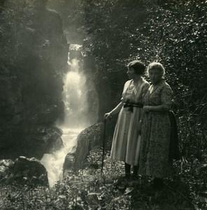 Switzerland Meiringen Reichenbach falls Possemiers Amateur Stereoview Photo 1910