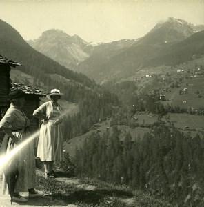 Switzerland Val d'Anniviers Zinal Road Possemiers Amateur Stereoview Photo 1910