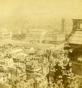 France Paris Panorama ancienne Stereo Photo 1870