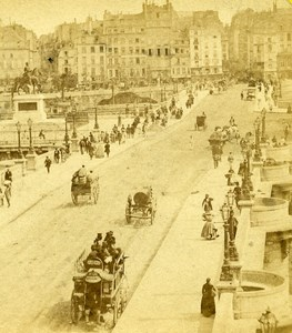 France Paris Pont Neuf animated street scene Vue Instantanee Stereo Photo 1865