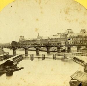 France Paris Louvre & Pont des Arts Bridge Old Stereo Photo 1859