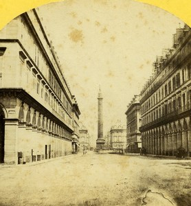 France Paris Rue Castiglione Colonne Vendome Old Stereo Photo 1859