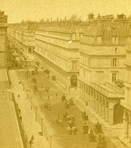 France Paris Rue de Rivoli Animated Street Scene Old Stereo Photo 1865