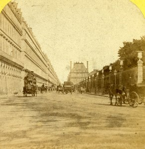 France Paris Rue de Rivoli & Tuileries Vue Instantanee Old Stereo Photo 1865