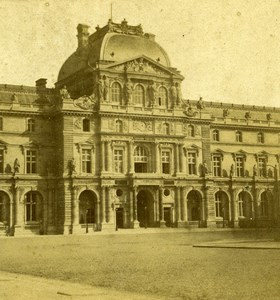 France Paris Pavillon du Louvre Palace Old Stereo Photo 1858