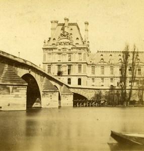 France Paris Palais du Louvre Pont Royal ancienne Stereo Photo 1870