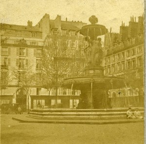 France Paris Square Louvois Fountain Old Stereo Photo Jannelle 1857