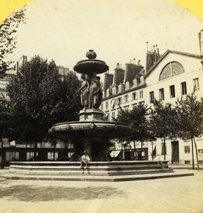 France Paris Square Louvois Fountain Old Stereo Photo 1859