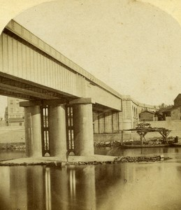 France Lyon Tubular Bridge Gare de Perrache Furne et Tournier Stereo Photo 1858