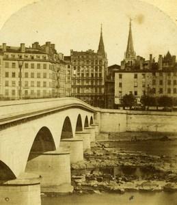 France Lyon Pont de Nemours Bridge Old Furne et Tournier Stereo Photo 1858