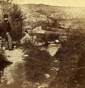France Landscape South Region Couple Promenade Old Stereo Photo 1860