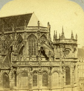 France Caen Eglise Saint Pierre church Old Stereo Photo 1860
