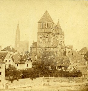 France Strasbourg eglise Saint Thomas ancienne Stereo Photo 1860