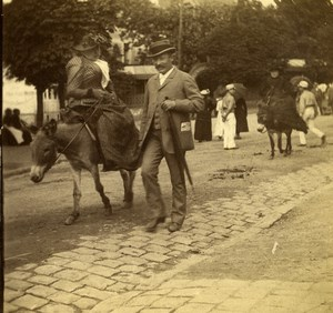 France Lyon Exposition Donkey Ride Promenade Old Stereo Photo 1894