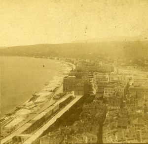 France Nice Beach panorama Old Stereo Photo Radiguet 1870