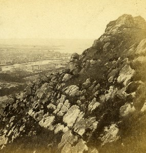 France Cherbourg Montagne du Roule Panorama Old Stereo Photo Andrieu 1860