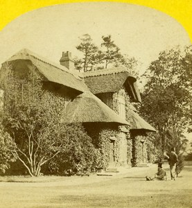 London Kew Gardens Queen's Cottage Garden Old Stereo Photo Blanchard 1870