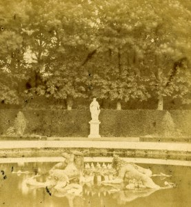 France Versailles Chateau Bassin Fontaine ancienne Stereo Photo 1870