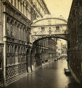 Italy Venice Venise Bridge of Sighs Canal Old Perini Stereoview Photo 1860