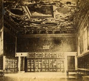 Italie Venise Palais des Doges Salle du Grand Conseil Maggior Consiglio ancienne Photo Stereo 1865