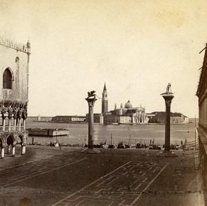 Italie Venise Piazzetta San Marco ancienne Photo Stereo 1865