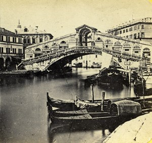 Italy Venice Venise Rialto Bridge Gondola Old Stereoview Photo Anthony 1865