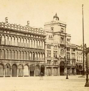 Italie Venise Tour de l'Horloge Torre dell'Orologio ancienne Photo Stereo 1865