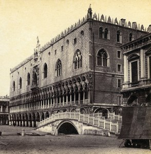 Italie Venise Palace des Doges Palazzo Ducale ancienne Photo Stereo 1865